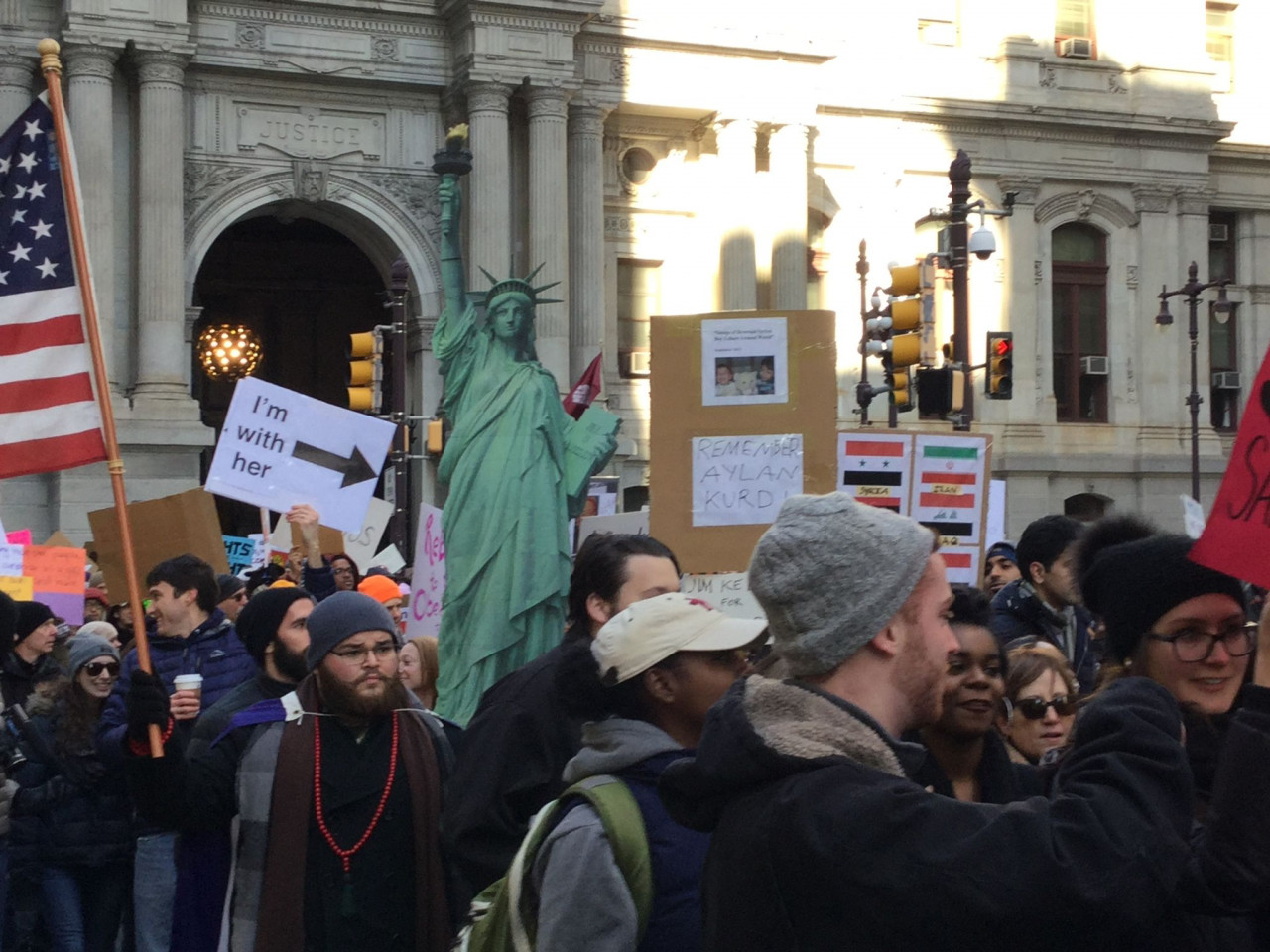 Immigrant Rights Protest - Philadelphia - February 4, 2017 - I'm with Lady Liberty