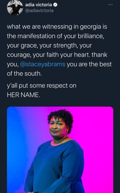 Thank you Stacy Abrams
